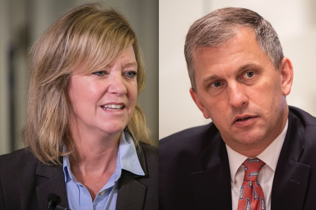 Republican challenger Jeanne Ives, left, in 2018; U.S. Rep. Sean Casten, right, in September.File photos.