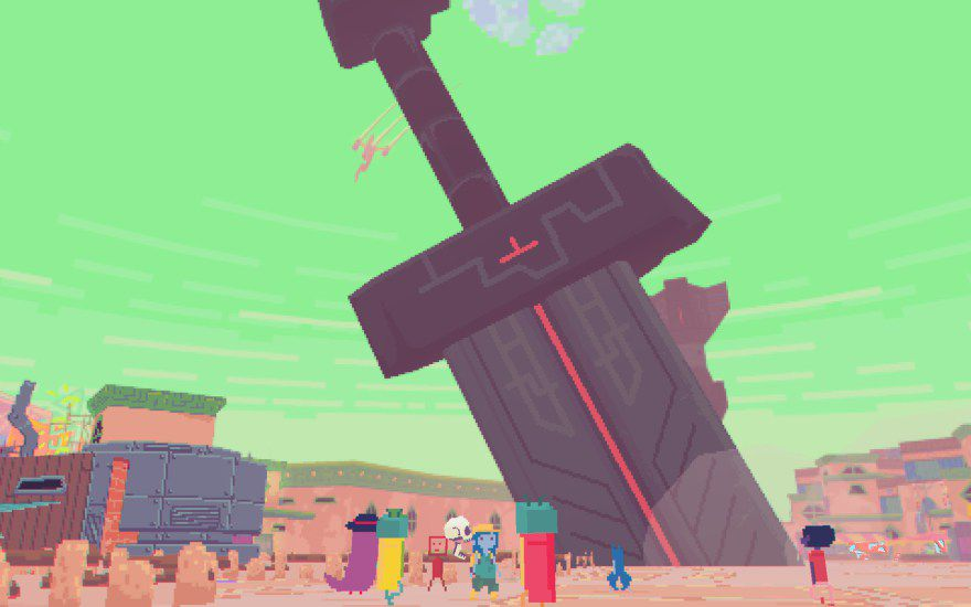 A green background with a large sword stuck in the ground