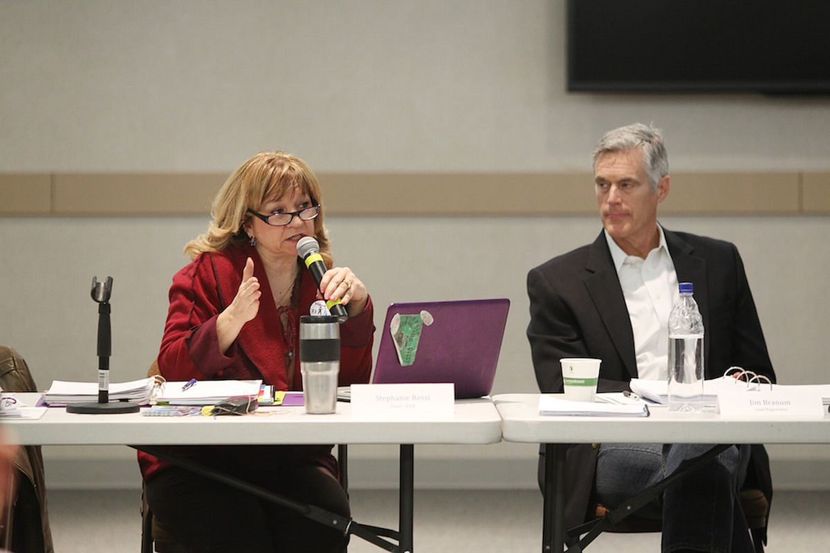 Wheat Ridge High School history teacher Stephanie Rossi, left, and lawyer for Jeffco Public Schools Jim Branum  discussed the county's teacher contract in 2015.
