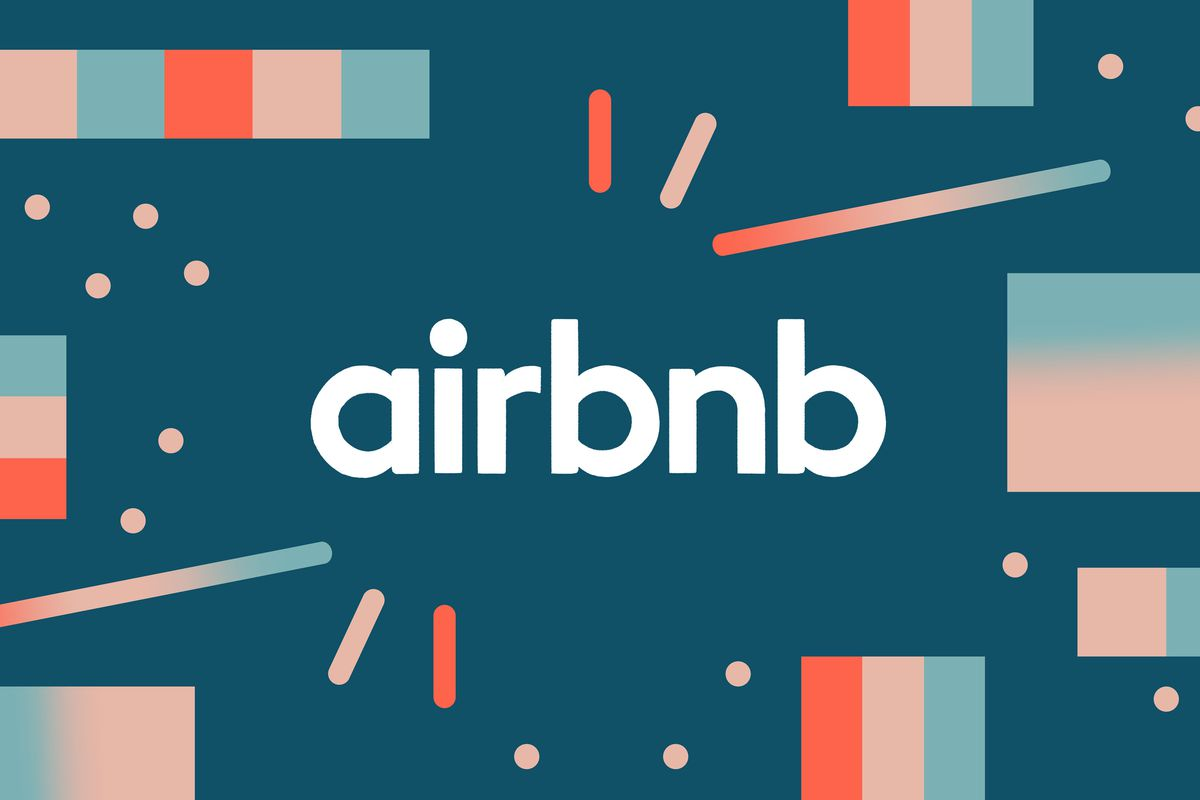 """Illustration with text """"airbnb"""" against pink and blue graphics."""