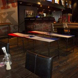 Beer pong tables.