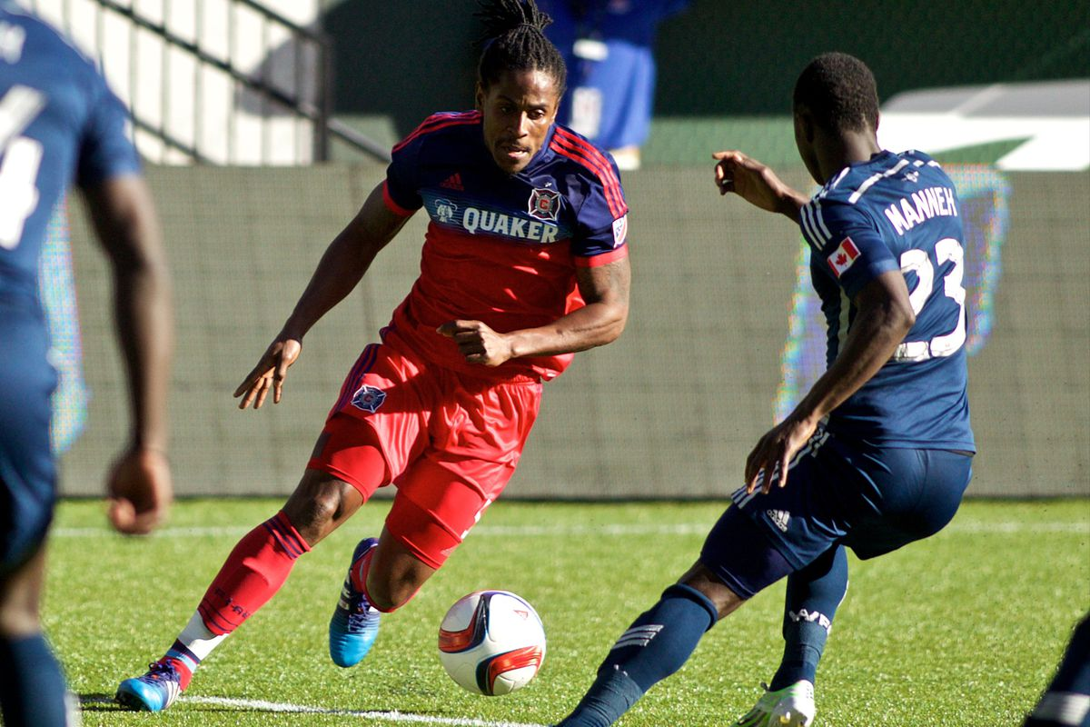 Lovel Palmer's got his work cut out for him against Vancouver's fleet attackers.
