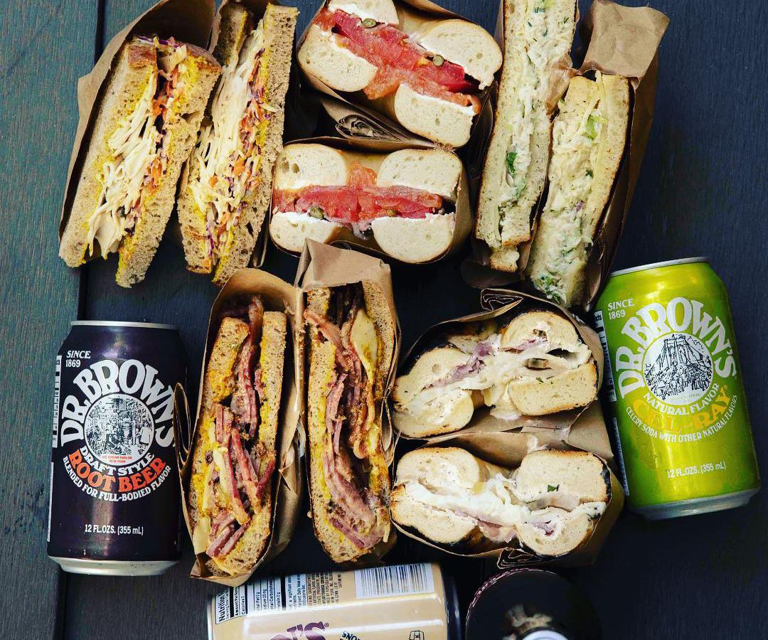 Sandwiches and cans of soda from Solomon's Delicatessen