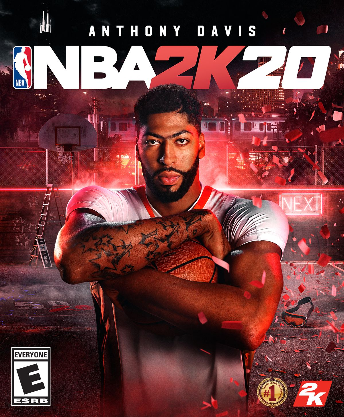 NBA 2K20 cover art featuring Anthony Davis hugging a basketball in front of his chest