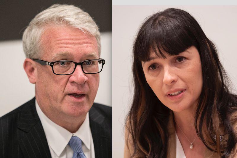 State House Republican Leader Jim Durkin, left, in 2018; state Rep. Eva-Dina Delgado, right, last month.File Photos.