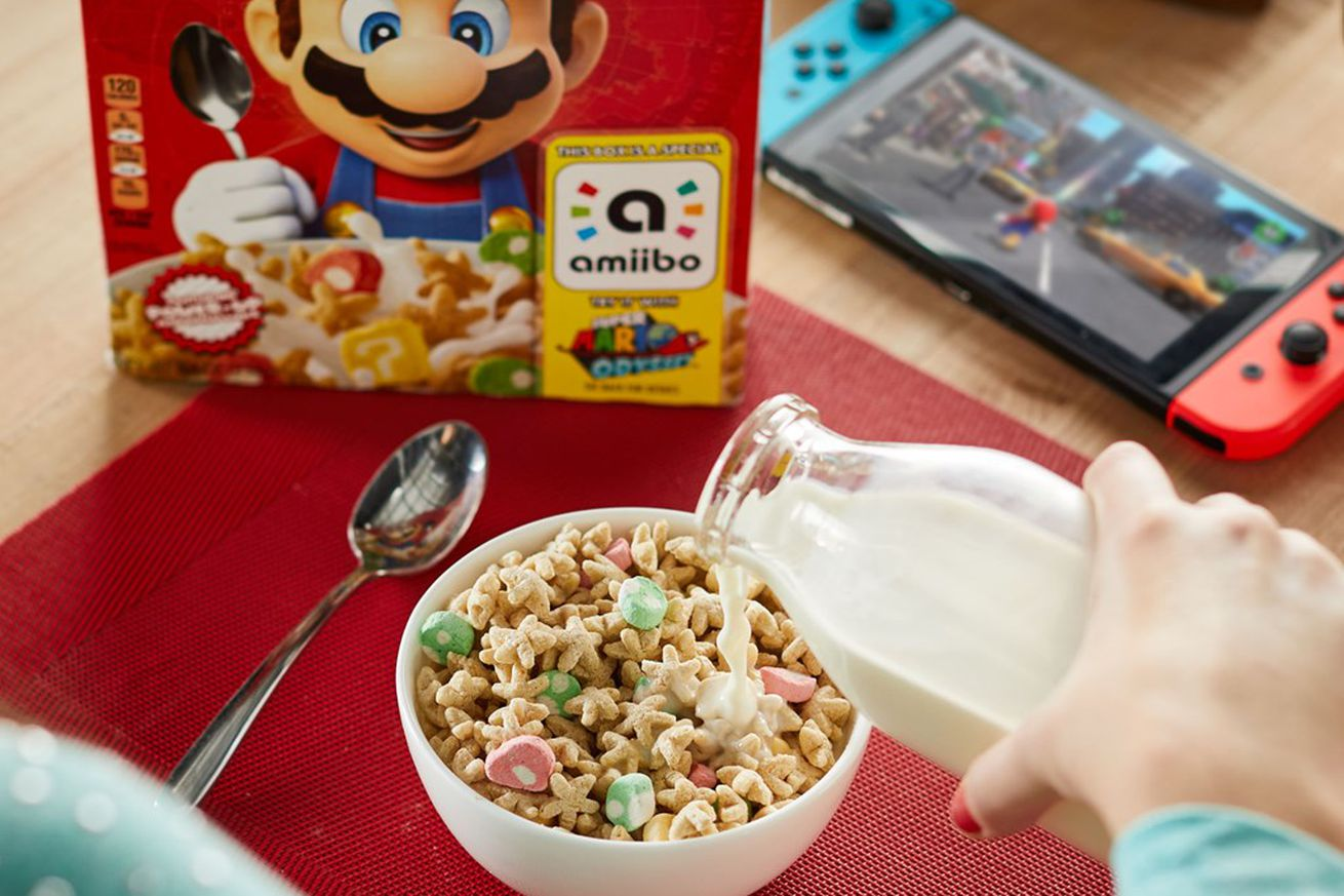 nintendo adds amiibo to breakfast with new super mario cereal