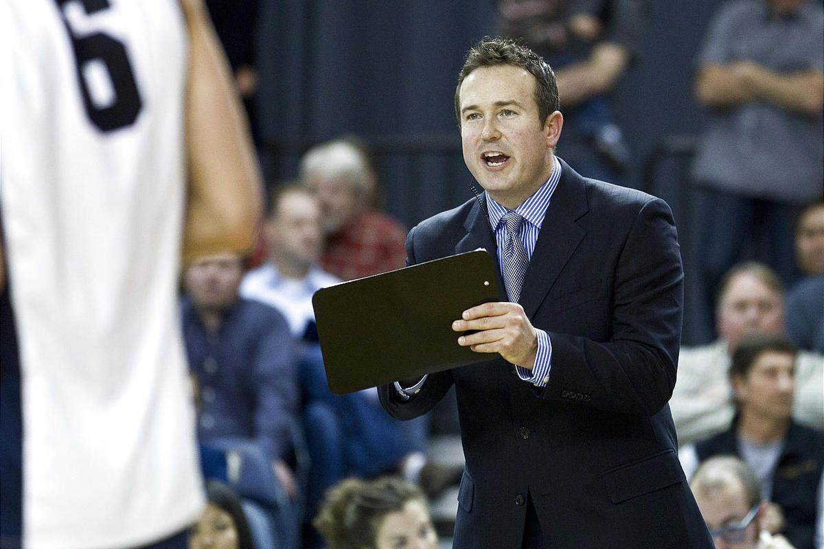 BYU Head Coach Chris McGown makes adjustments during the fourth set.