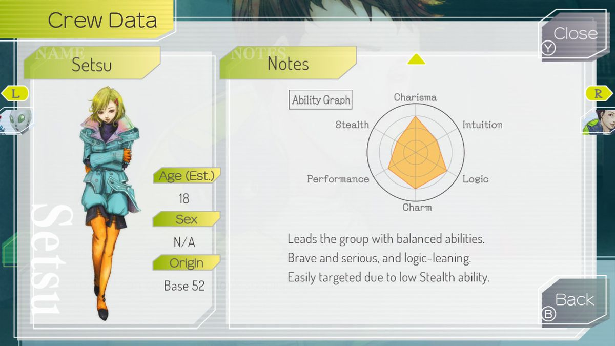 Gnosia's character stats screen for Setsu