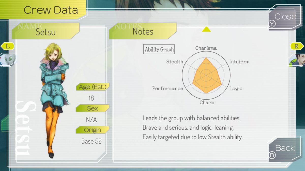 Gnosia's character stats screen for Setsu