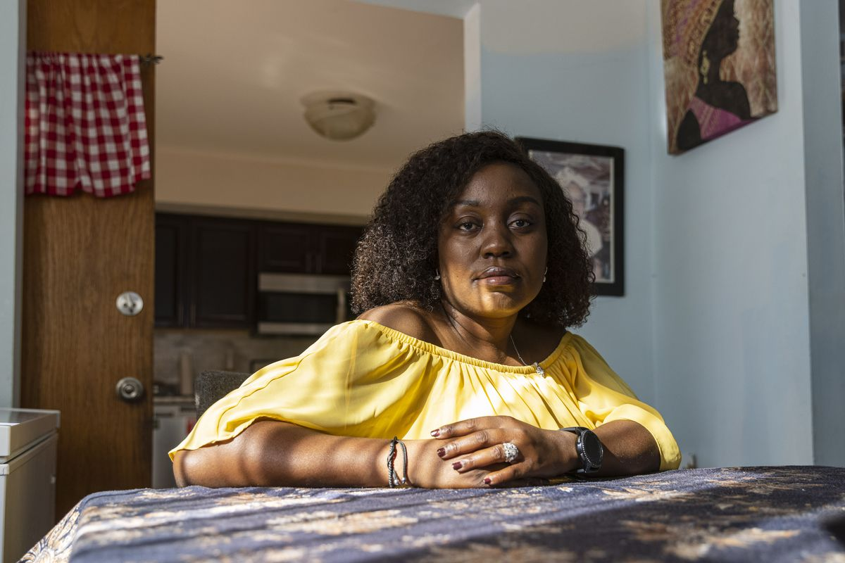 Beverly Chukwudozie in her home in Evanston. Chukwudozie has sickle cell disease.