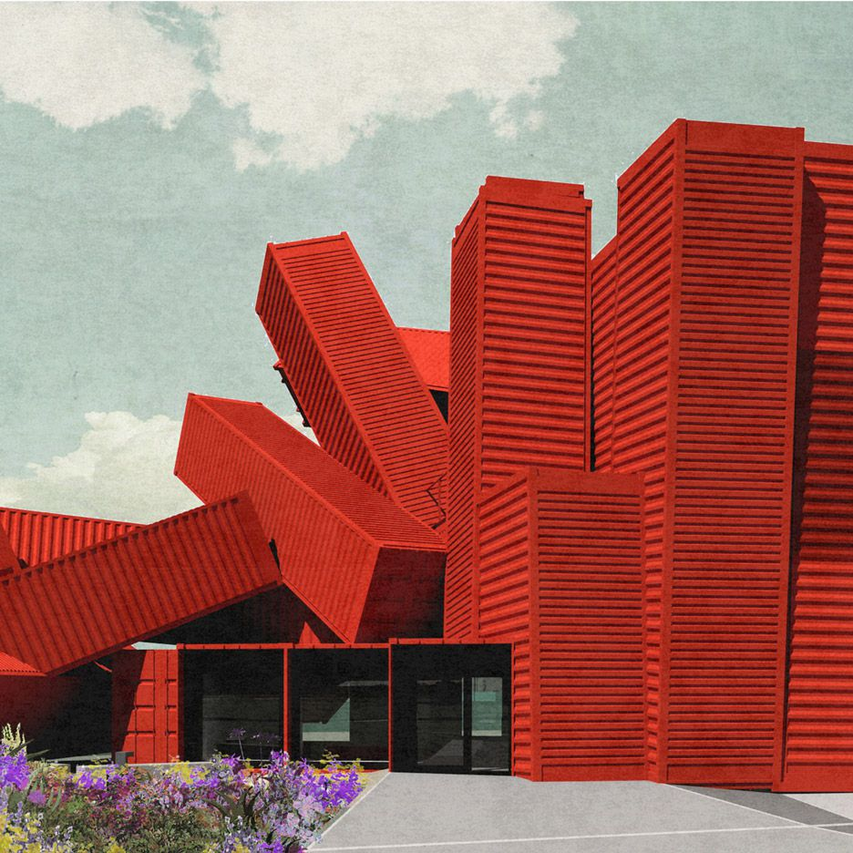 Rendering of red shipping container building
