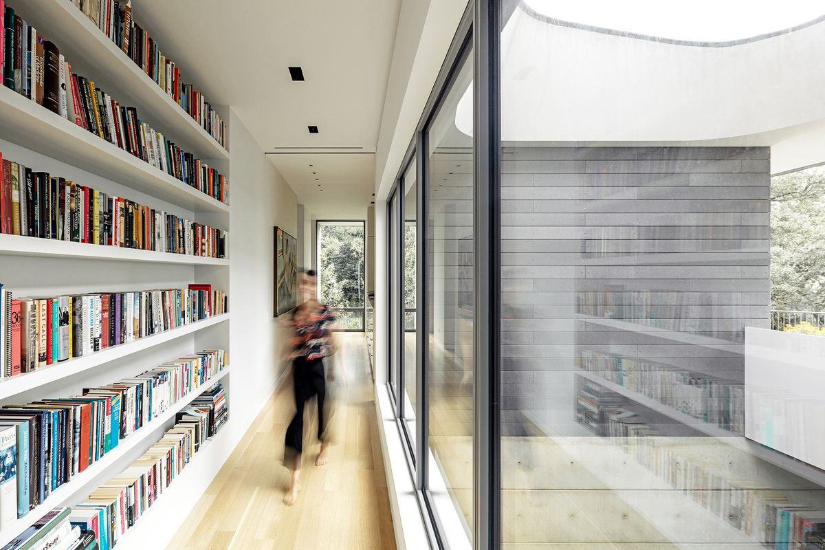 Book-lined hallway