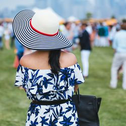 If you're going off-the-shoulder, get some sun protection with a wide-brimmed hat.