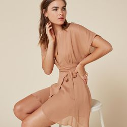 A classic wrap dress style can be dressed up or down.