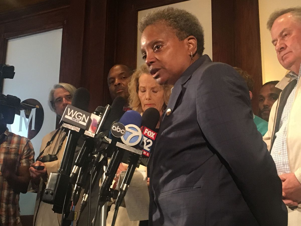 File photo of Chicago Mayor Lori Lightfoot speaking at Chicago's City Club on May 28, 2019.