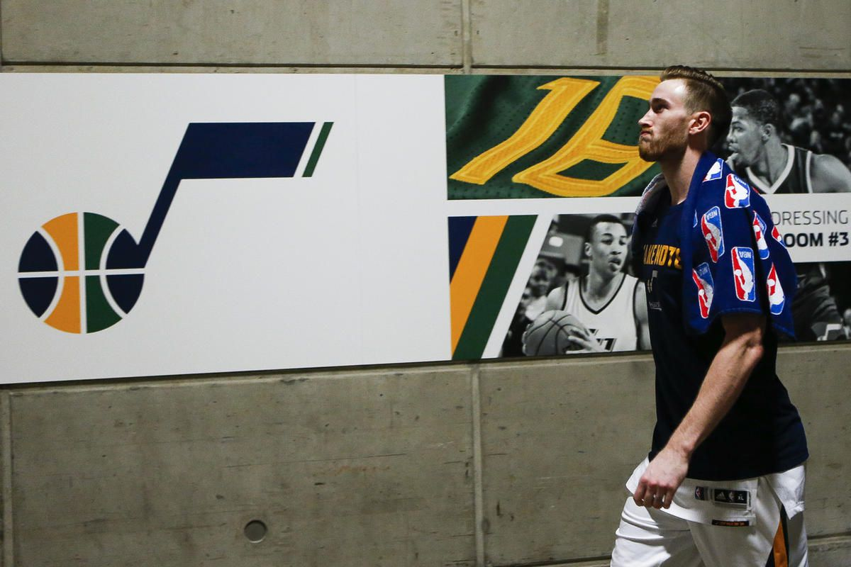 Utah Jazz forward Gordon Hayward walks off the court after losing to the Golden State Warriors during game four of the Western Conference Semifinal at Vivant Smart Home Arena in Salt Lake City on Monday, May 8, 2017.