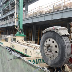 1:27 p.m. Concrete transfer truck being loaded -