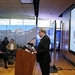 Airport Board Chairman Michael Gallivan speaks as new Salt Lake City International Airport terminal design details are unveiled in Salt Lake City, Tuesday, Sept. 29, 2015.