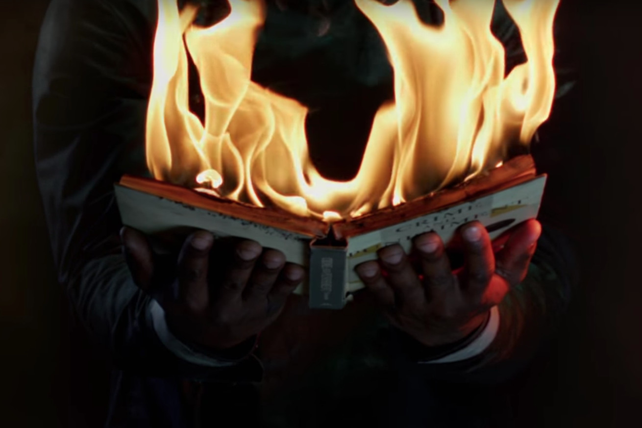 hbo s first teaser for fahrenheit 451 burns everything down