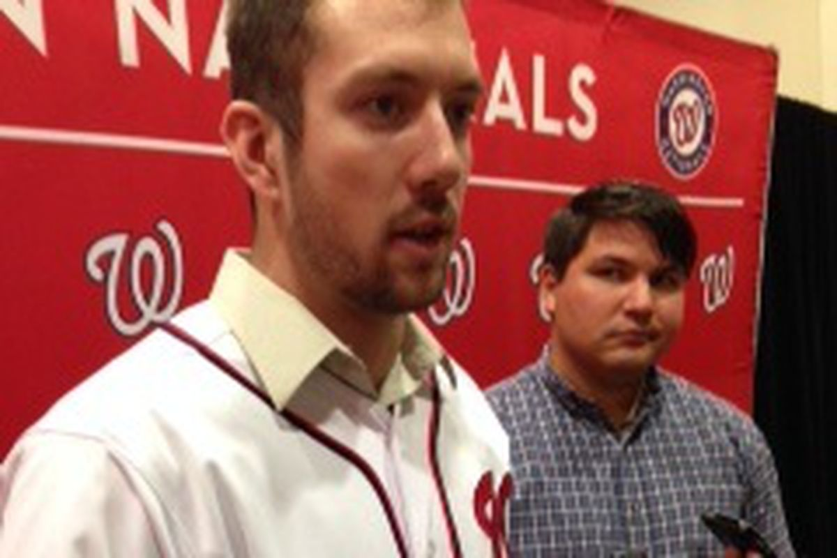 Nationals' prospect Steven Souza talks to reporters at NatFest in the Gaylord Resort and Convention Center, National Harbor, MD