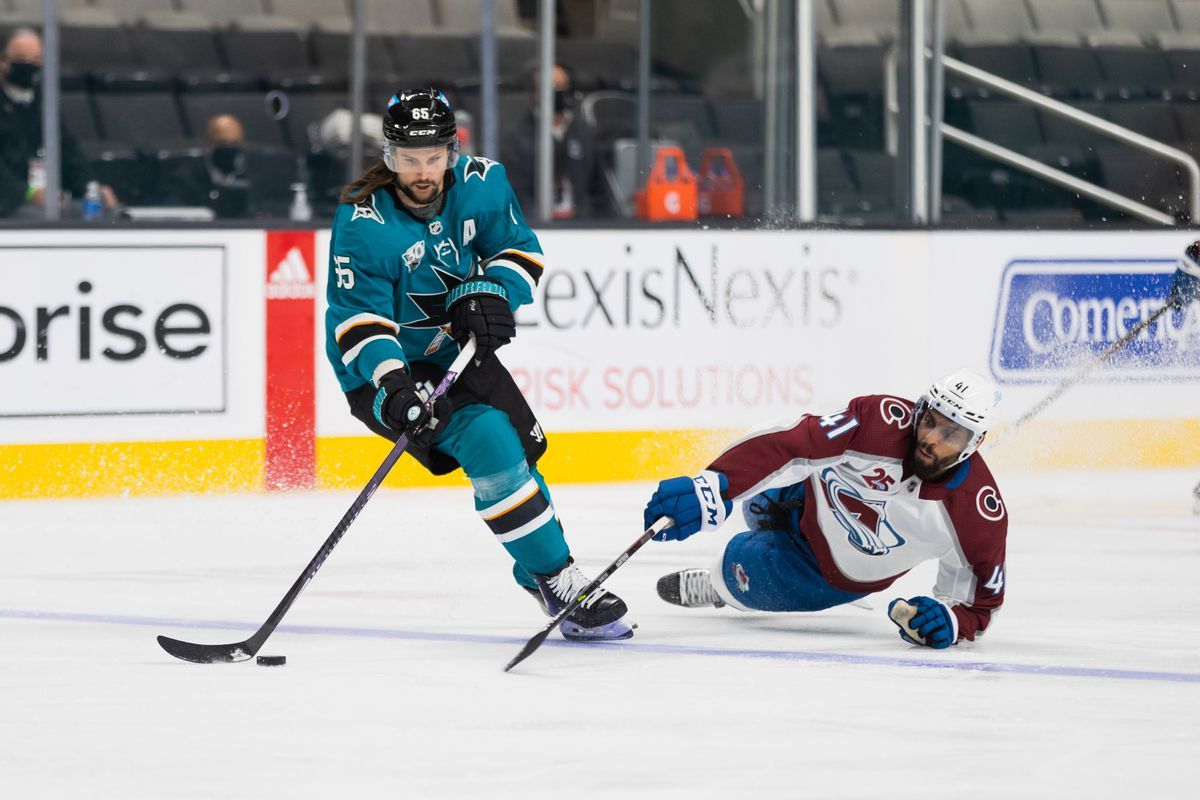 San Jose Sharks Defenceman Erik Karlsson (65) skates with the puck during the NHL pro hockey game between the Colorado Avalanche and the San Jose Sharks on March 3, 2021 at SAP Center in San Jose, CA.