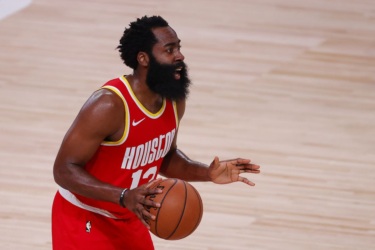 James Harden of the Houston Rockets reacts to a call during the second half against the Portland Trail Blazers at The Arena at ESPN Wide World Of Sports Complex on August 04, 2020 in Lake Buena Vista, Florida.
