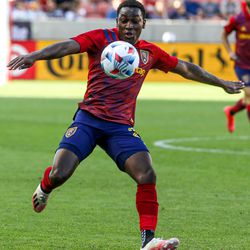 Real Salt Lake forward Anderson Julio during an MLS soccer game at Rio Tinto Stadium in Sandy on Saturday, June 26, 2021.