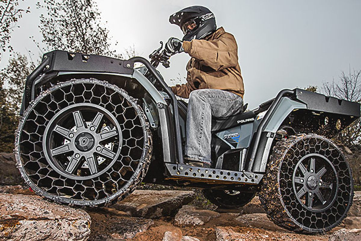 Polaris Latest Atv Has Airless Tires That Can Withstand 50 Caliber Rounds New