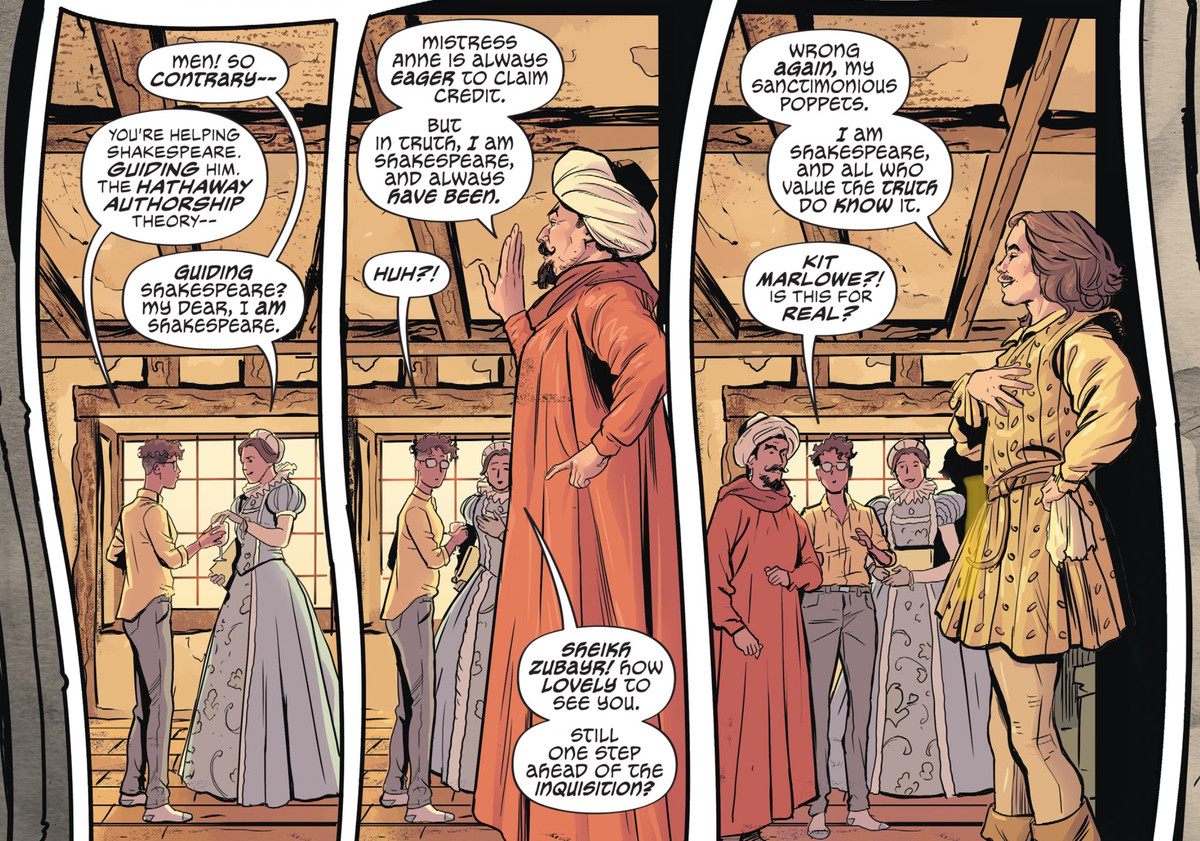 """Lindy meets Anne Hathaway, Sheikh Zubayr, and Kit Marlowe, all proposed as the """"true"""" Shakespeare in The Dreaming: Waking Hours #1, DC Comics (2020)."""
