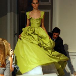 Lime silk faille gown on Kirsi.