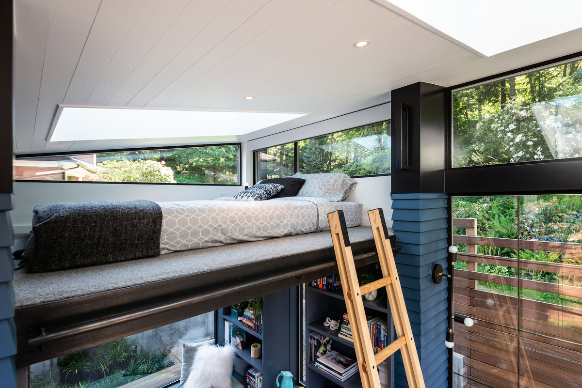 Lofted bed with ladder