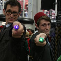 Thomas Horton of Los Angeles (left) and Triston Frischknecht of Sandy (right) dressed as Doctor Who's Tenth and Eleventh Doctors at Salt Lake Comic Con. With more than 50,000 tickets sold, Comic Con goers filled the convention halls to the max during the final day of the convention.