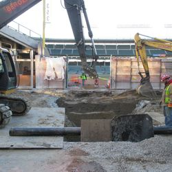 Work on Sheffield in front of Gate Q