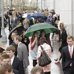 Snow and rain drench members during the 182nd Annual General Conference for The Church of Jesus Christ of Latter-day Saints in Salt Lake City  Sunday, April 1, 2012.