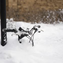 A bicycle is buried in the snow Tuesday in Chicago.