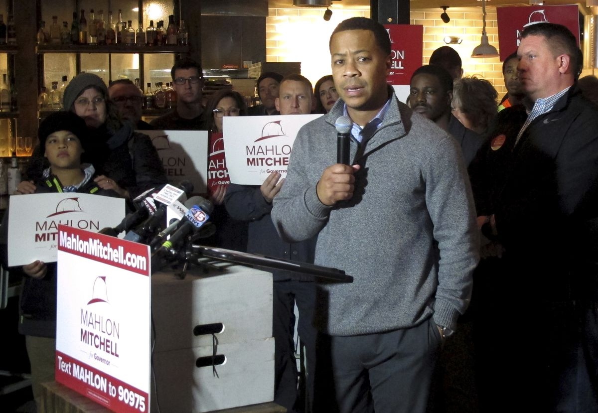 Mahlon Mitchell announces his gubernatorial campaign in Madison, WI on November 13, 2017.