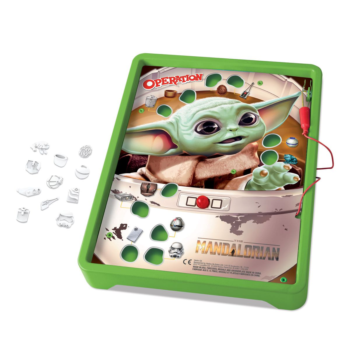 A picture of the game board itself shows players taking items from Baby Yoda, not removing them physically from his hairy green body.