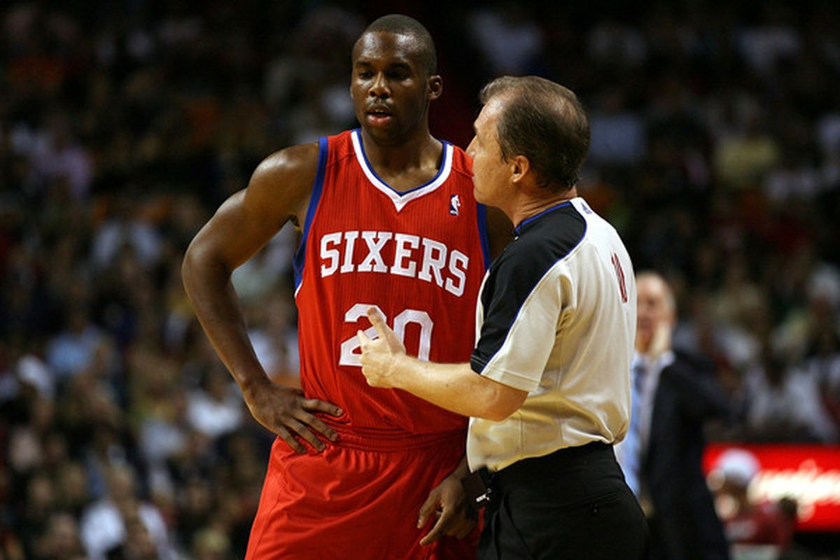 MIAMI - NOVEMBER 26: Guard Jodie Meeks #20 of the Philadelphia 76ers talks to the referee against the Miami Heat at American Airlines Arena on November 26 2010 in Miami Florida. The Heat defeated the 76ers 99-90.  (Photo by Marc Serota/Getty Images)