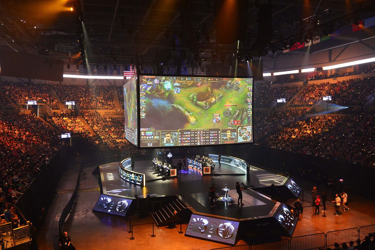 A general view as Team Liquid and TSM battle during the League of Legends Championship Series Spring Finals at Chaifetz Arena in 2019.