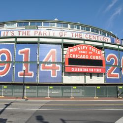 The main entrance to Wrigley fenced off