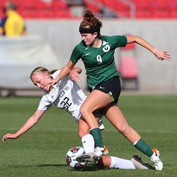 The Murray and Olympus girls soccer teams play in the 5A state semifinals at Rio Tinto Stadium in Sandy on Tuesday, Oct. 20, 2020. Olympus won 2-1 to advance to the championship game.