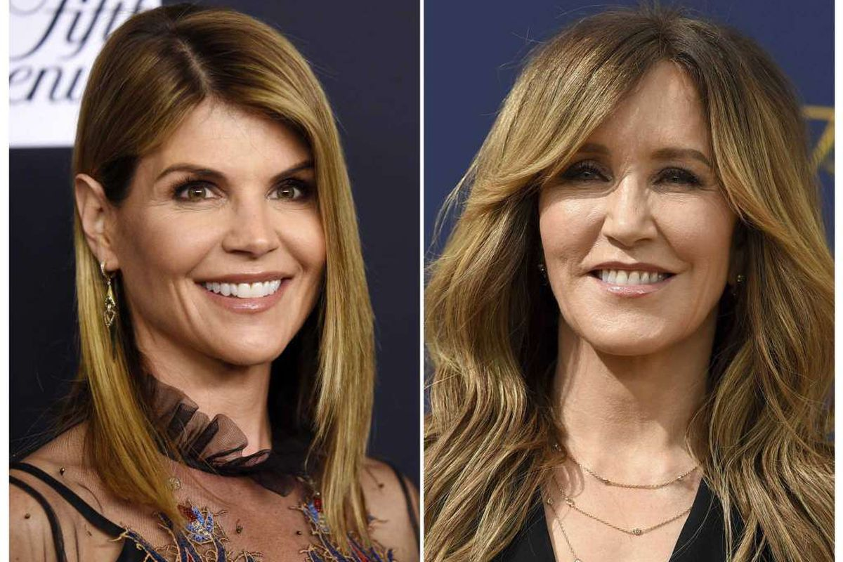This combination photo shows actress Lori Loughlin in Beverly Hills, Calif., on Feb. 27, 2018, left, and actress Felicity Huffman at the Emmy Awards in Los Angeles on Sept. 17, 2018. Loughlin and Huffman are among 33 parents indicted in a sweeping college