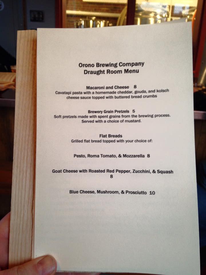 orono brewing bar menu
