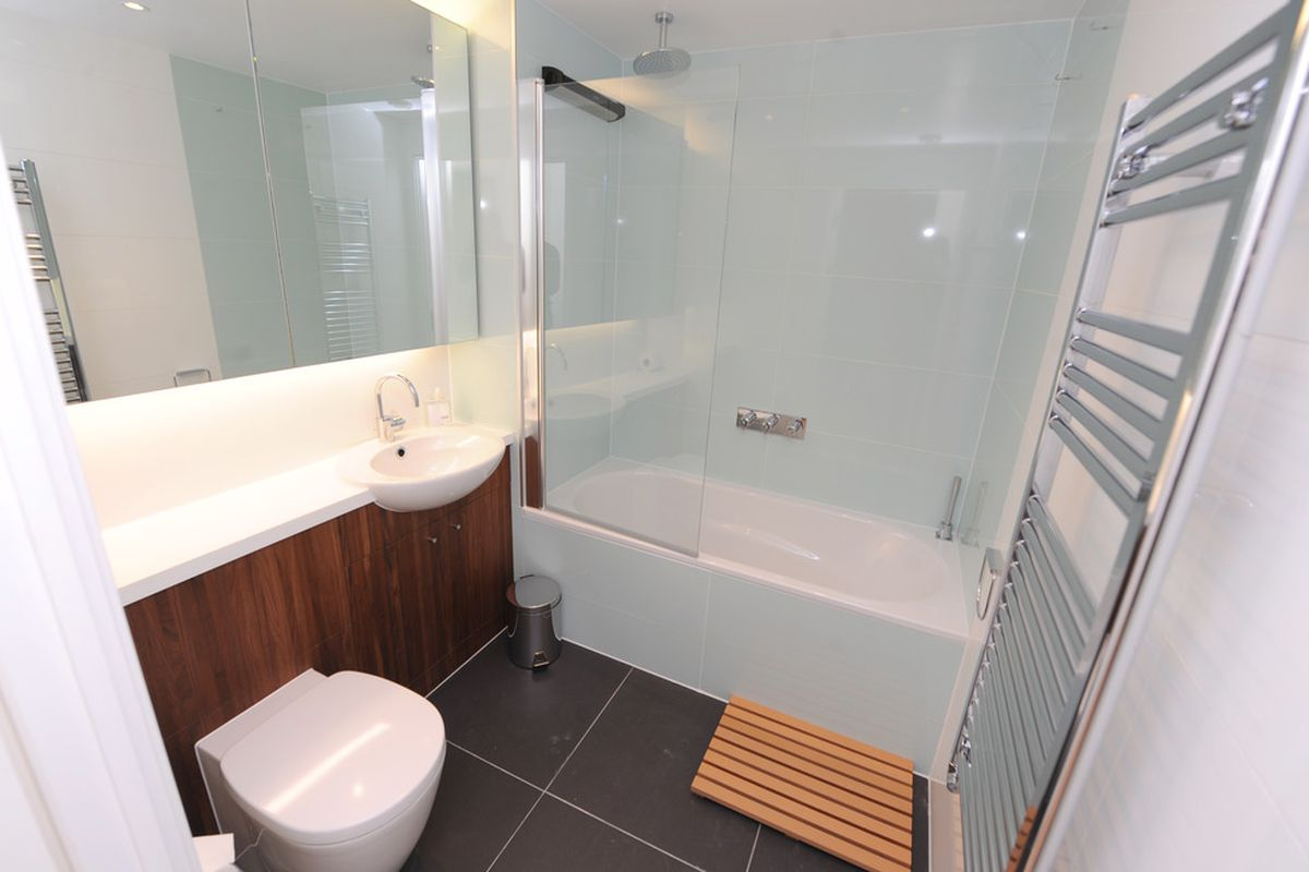 General view of an apartment bathroom in the Athlete's Village at the Olympic Park in Stratford on March 15, 2012 in London, England.