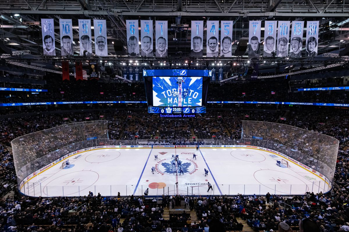 General view of Scotiabank Arena as Tampa Bay Lightning Center Brayden Point and Toronto Maple Leafs Center Auston Matthews get ready for the opening face-off before the NHL regular season game between the Tampa Bay Lightning and the Toronto Maple Leafs on March 10, 2020, at Scotiabank Arena in Toronto, ON, Canada.