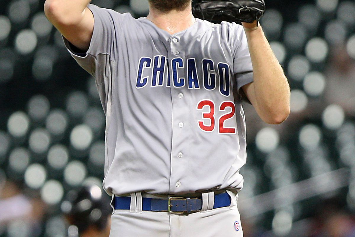 Houston, TX, USA; Chicago Cubs starting pitcher Chris Volstad reacts after a pitch against the Houston Astros at Minute Maid Park. Credit: Troy Taormina-US PRESSWIRE