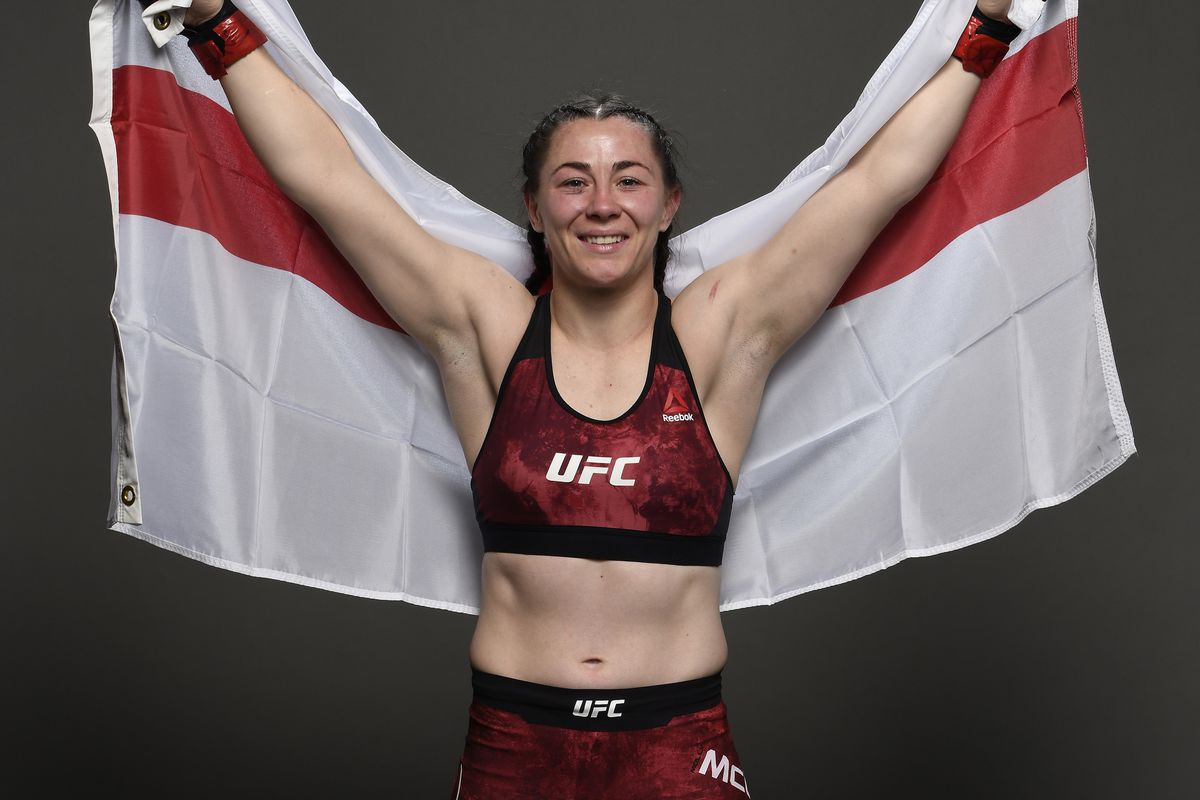 Molly McCann poses for a portrait backstage after her victory during the UFC Fight Night event at TD Garden on October 18, 2019 in Boston, Massachusetts.