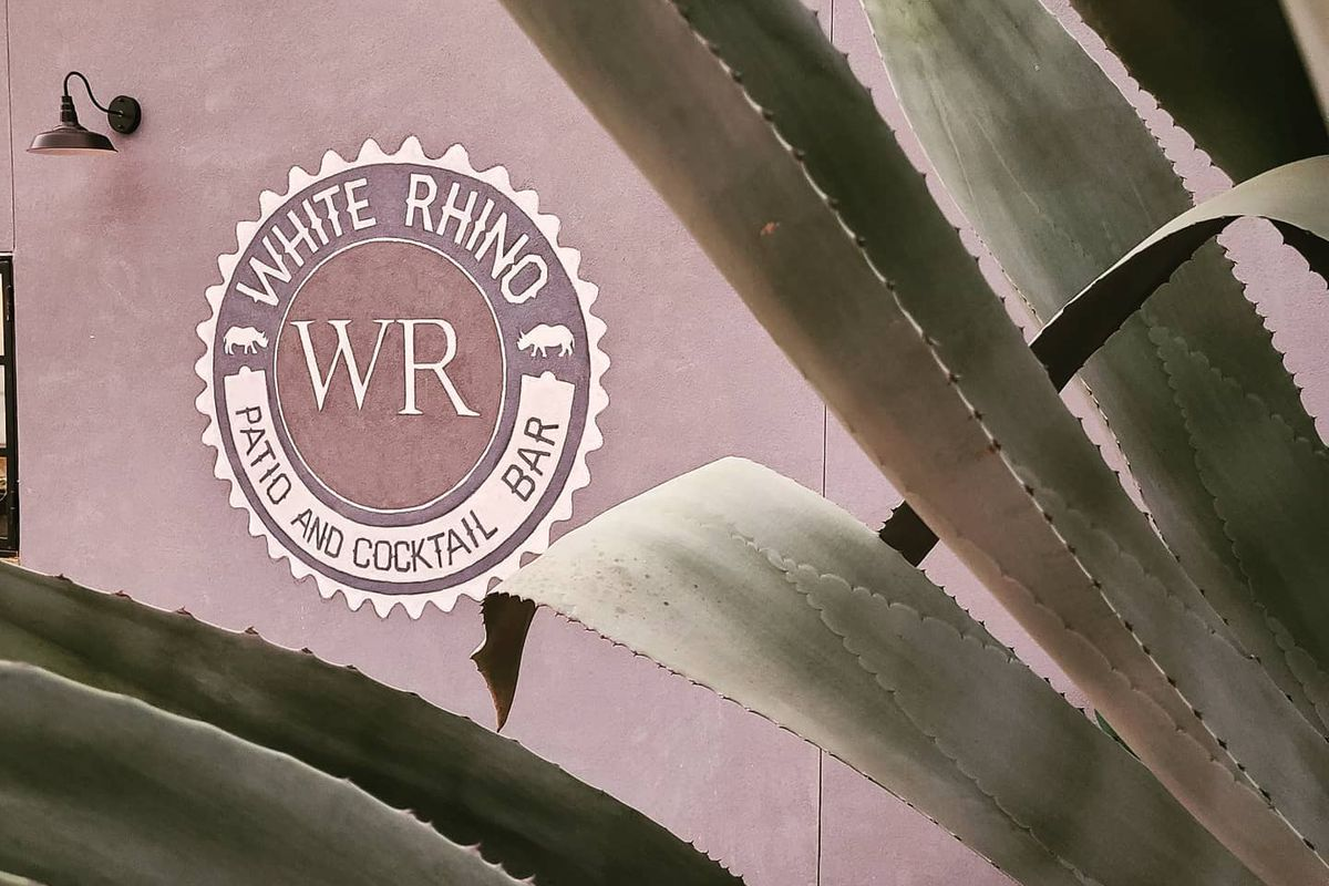 """the exterior of a bar with a logo that reads """"white rhino"""" and with a massive, stately agave plant partially obscuring the view"""