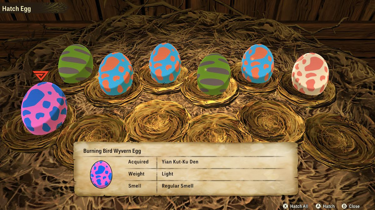 A bunch of colorful eggs in Monster Hunter Stories 2: Wings of Ruin