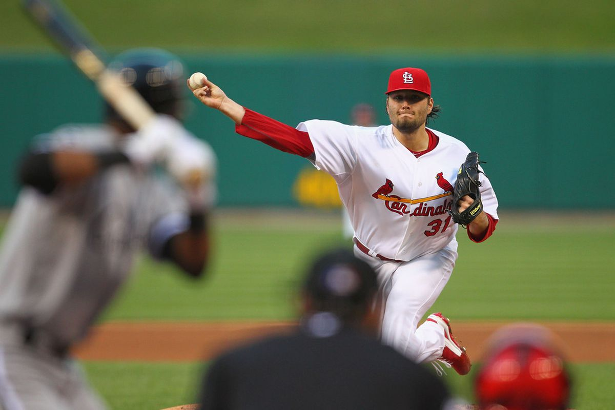 ST. LOUIS, MO - JUNE 13: Starter Lance Lynn #31 of the St. Louis Cardinals pitches against the Chicago White Sox at Busch Stadium on June 13, 2012 in St. Louis, Missouri.  (Photo by Dilip Vishwanat/Getty Images)